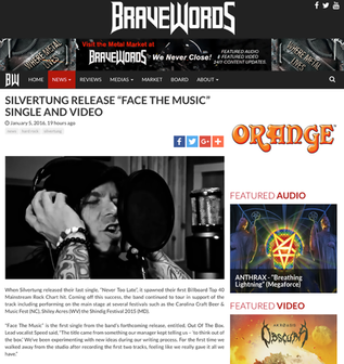 SILVERTUNG RELEASE DzFACE THE MUSICdz SINGLE AND VIDEO Posted by Bravewords.com