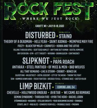 WISCONSIN ROCK FEST 2020 PROGRAMMING: SLIPKNOT, LIMP BIZKIT, DISTURBED, MORE