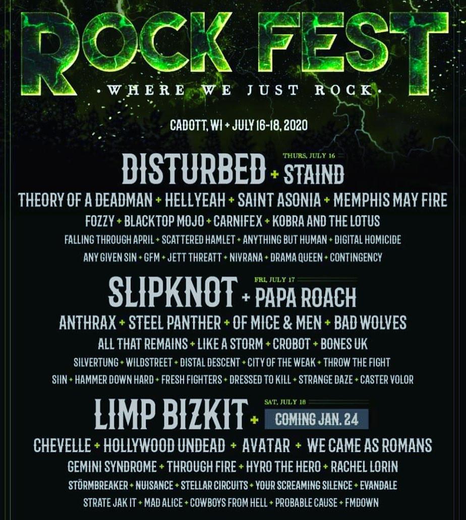 Rock Fest Cadott, WI July 16-18, 2020