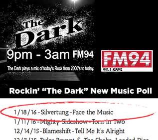 """""""Face The Music"""" tops The Dark on FM94 New music poll Posted by FallsRadio.com/the-dark- o"""