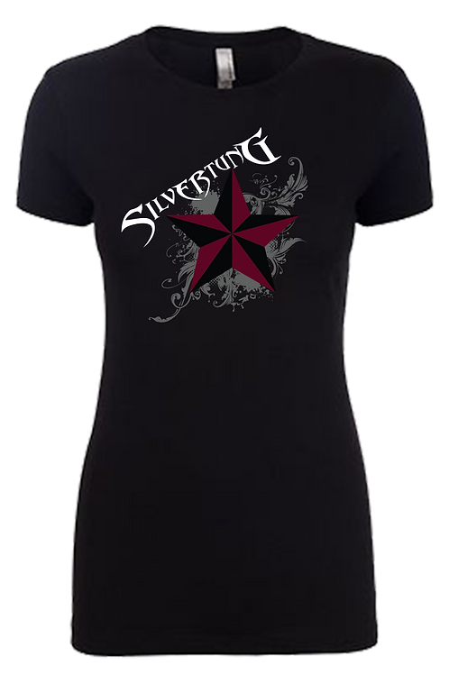 Maroon Star & Logo Ladies T-shirt