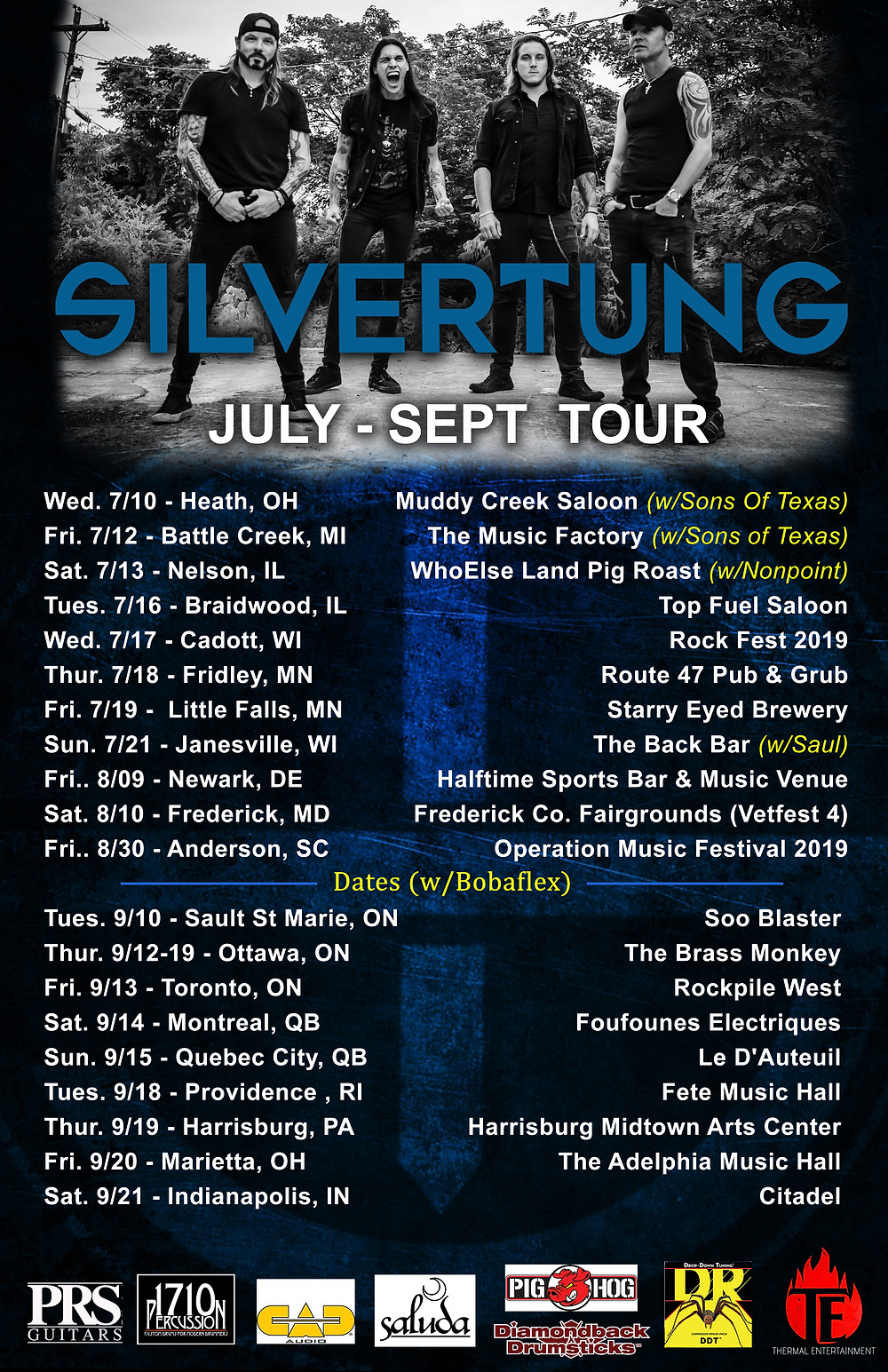 Silvertung Tour Dates July-Sept 2019
