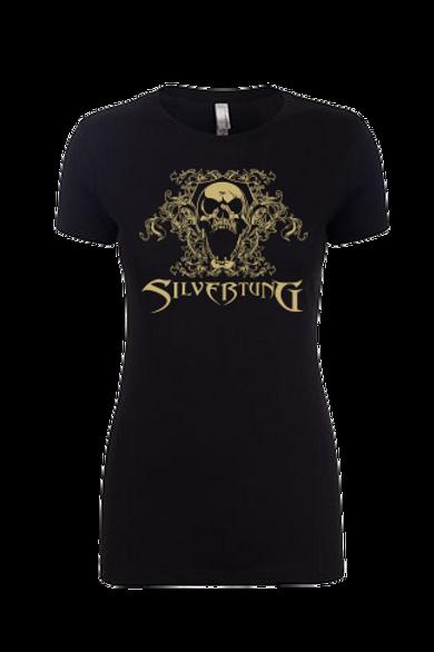 Khaki Filigree Skull Ladies T-shirt