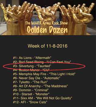 "Silvertung's ""Taunted"" top 3 on MARR Rock Show!"