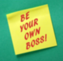 The phrase Be Your Own Boss in red text