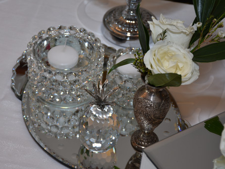 Floating Candles and Mirrored tray