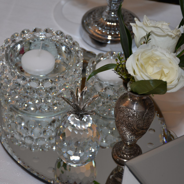 Foating Candles with Silver dishes and Mirror trays_Sofreh Aghd