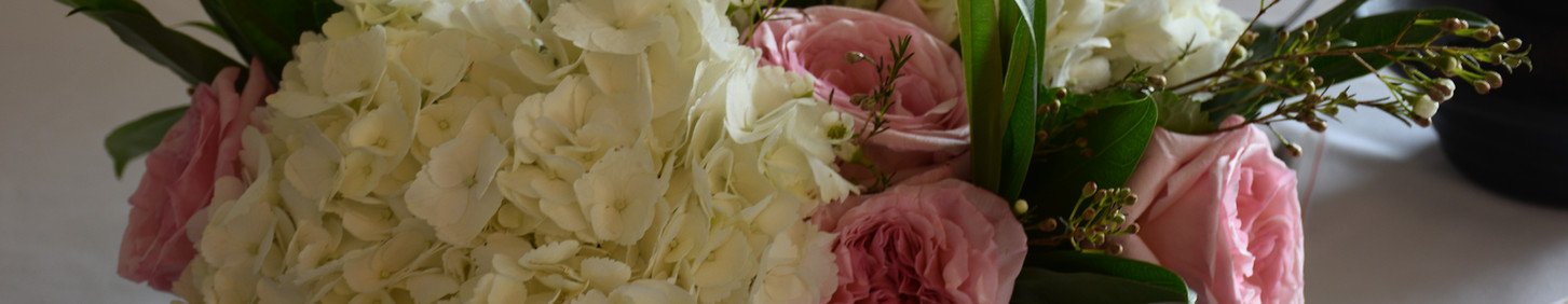Oversize Hydrangia with pink garden roses