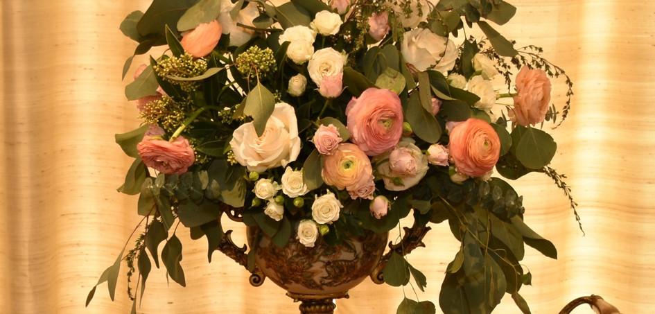 Silver greens - soft pink flower arrangements