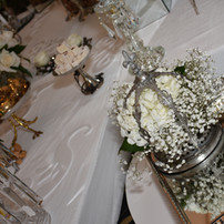 Silver crown setup in mirror trays for gifts