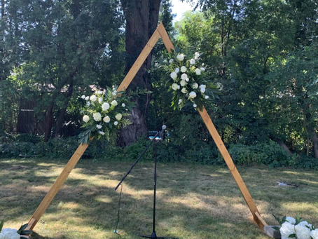 Triangle and square wooden Arches now in our possession for your ceremony and backdrop.