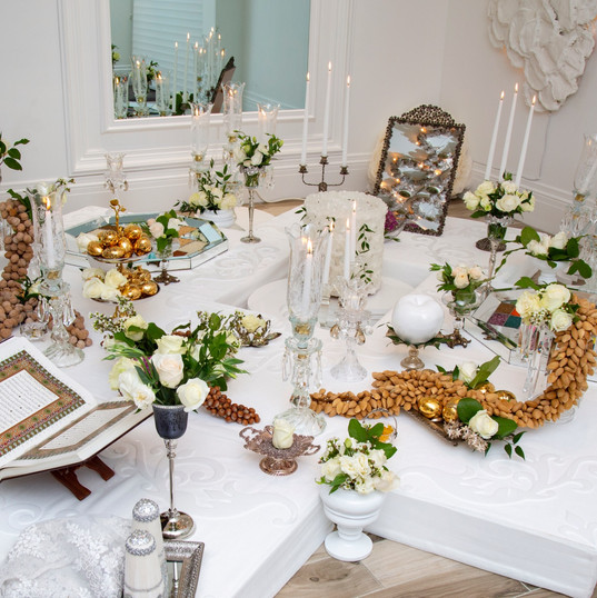 Silver and Crstal Sofreh Aghd meaning persian wedding cermony spread.