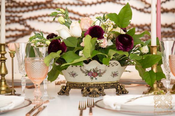 Burgundy Ranunculus Centerpiece