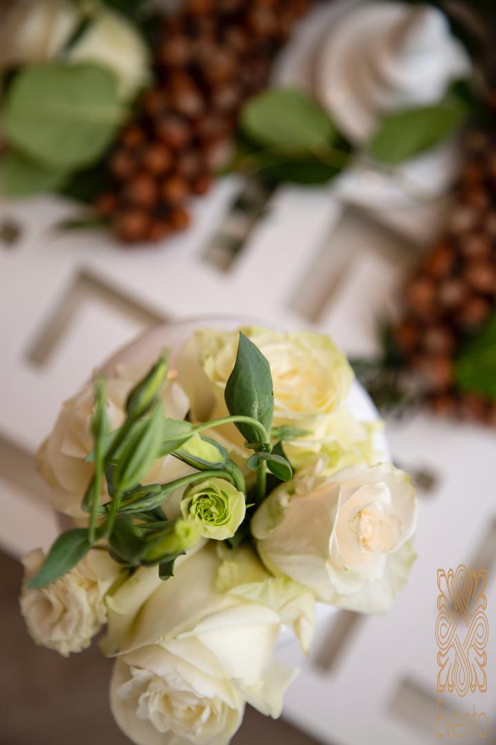White and green flower arrangement.