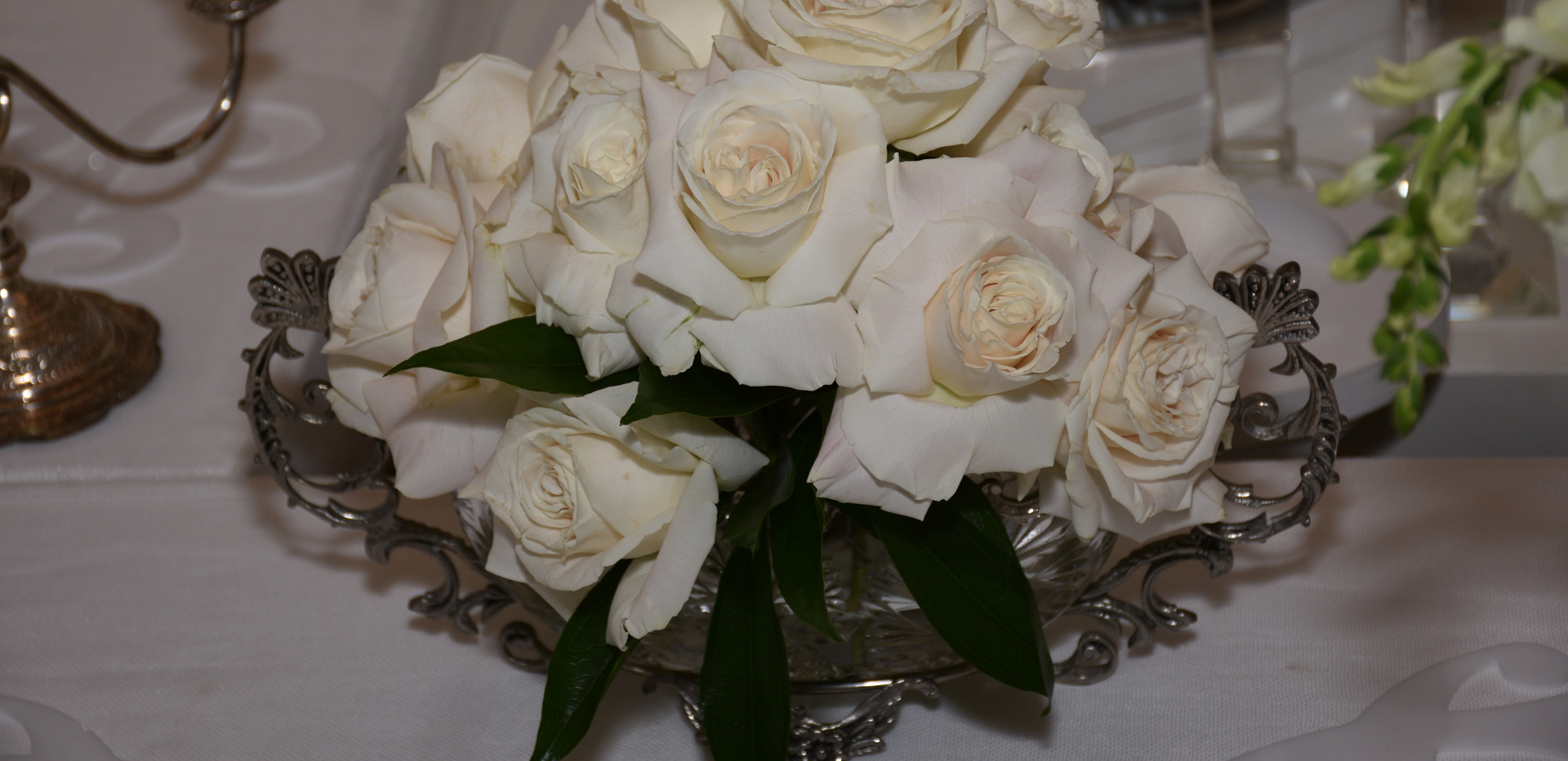 Roses in a bed of Silver Dish