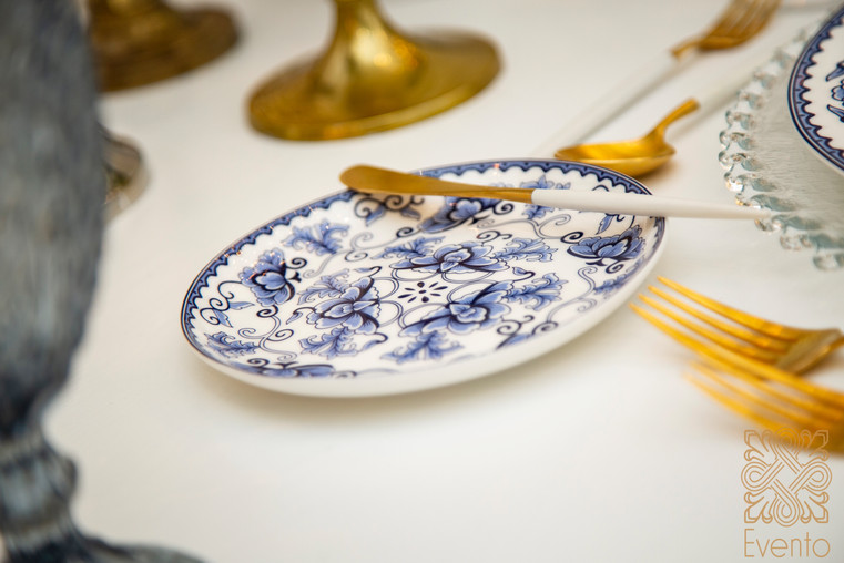 Vintage blue and white plates.
