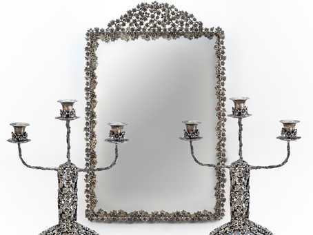 Silver Mirror and Candleholders