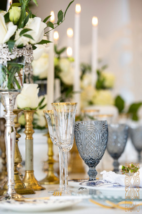 Coloured wine glasses adds a luxe look to any table.