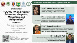 """DRR-Edu Series: """"Covid-19 and Higher Education - impacts, mitigation and adaptation"""""""