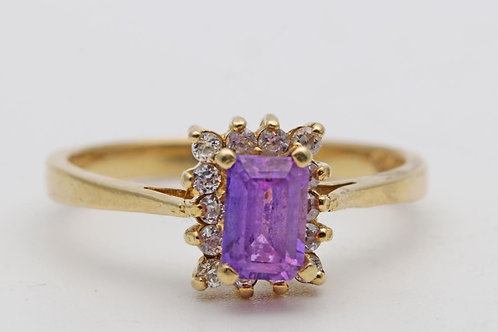 Pink and white sapphire gold ring