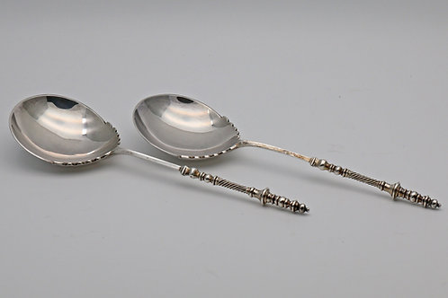 Pair of Victorian silver serving spoons