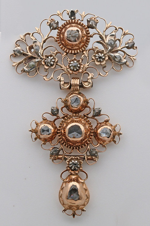 18th Century gold and diamond brooch