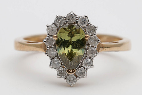 Gold synthetic green spinel and diamond cluster ring