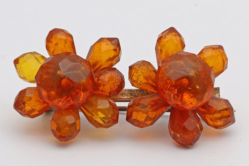 Edwardian Baltic amber flower brooch