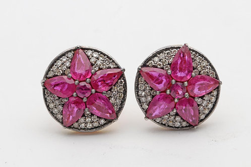 Ruby & diamond ear rings