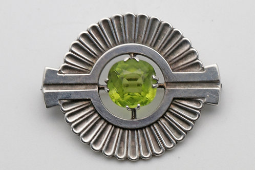 Vintage silver peridot brooch, Georg Jensen