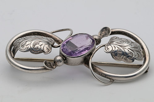 Silver amythest brooch