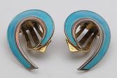 Hroar Prydz silver gilt turquoise guilloche enamel earrings  soldfor £62