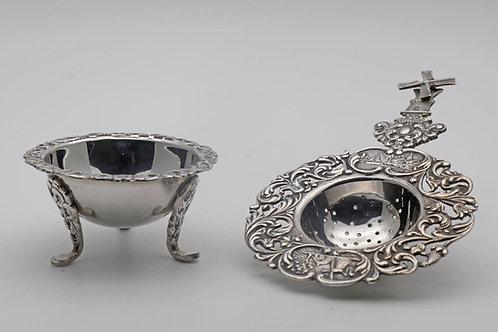 Antique Dutch tea strainer and drip dish