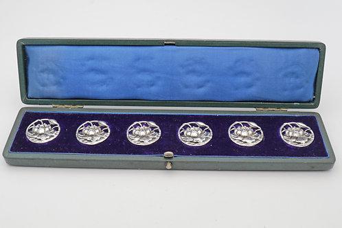 Art Nouveau set of Edwardian silver floral pierced buttons