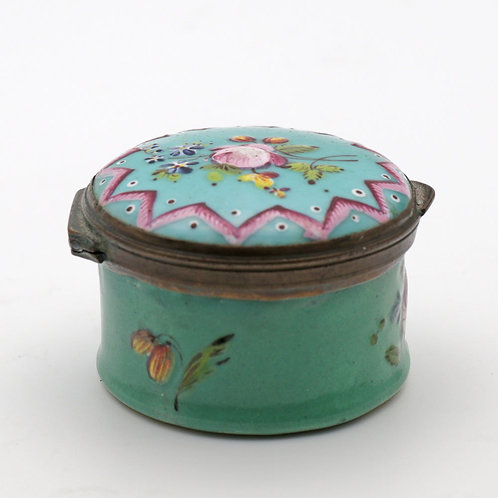 Rare 18th Century Battersea and Bilston Enamel Patch Pot