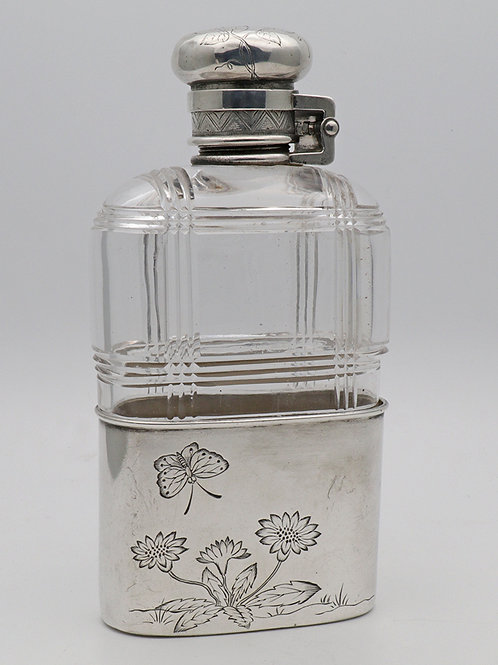 Tiffany & Co. silver mounted glass hip flask