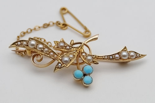 Early 20th century 15ct gold turquoise and split pearl brooch