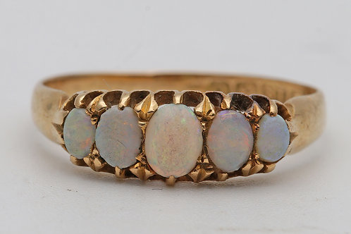 Edwardian 18ct gold opal five-stone ring