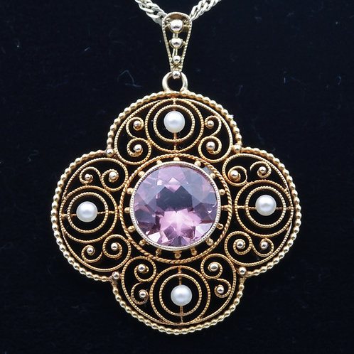 Edwardian 18ct gold & tourmaline pendant