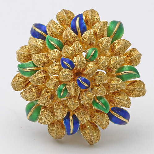 Gold and enamel brooch