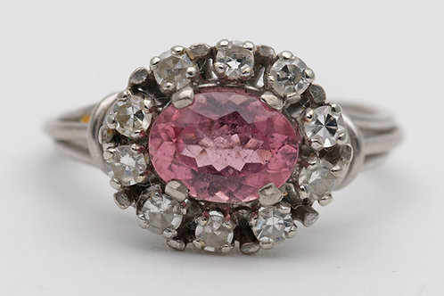 Pink tourmaline and diamond white gold cluster ring