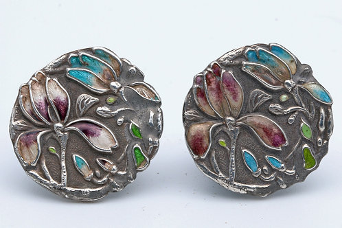 Japanese silver and enamel buttons