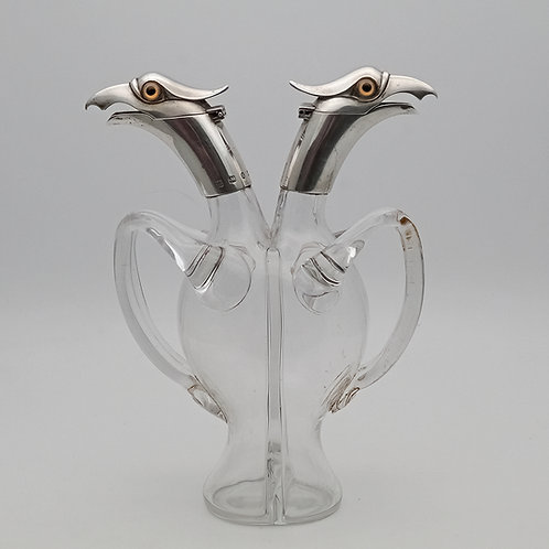 Victorian novelty silver mounted cruet Hukin and Heath