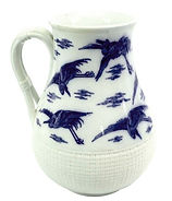 Christopher Dresser for Minton, a blue and white Cranes jug, c.1875