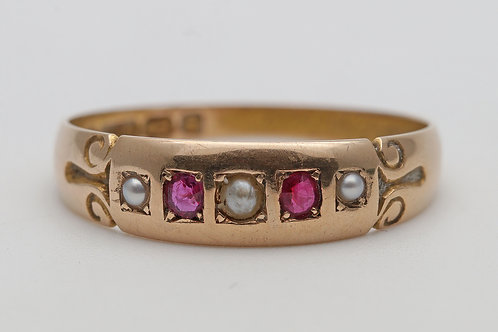 15ct gold ring set with rubies and seed pearls