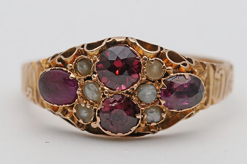Victorian 15ct gold garnet and pearl ring