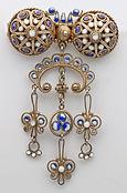 Marius hammer trembler silver gilt and enamel brooch, c. 1910  sold for £225