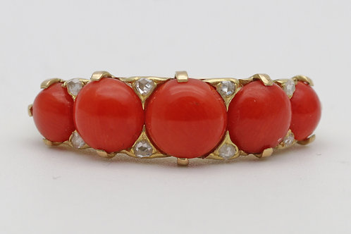 Early 20th century gold coral and diamond dress ring