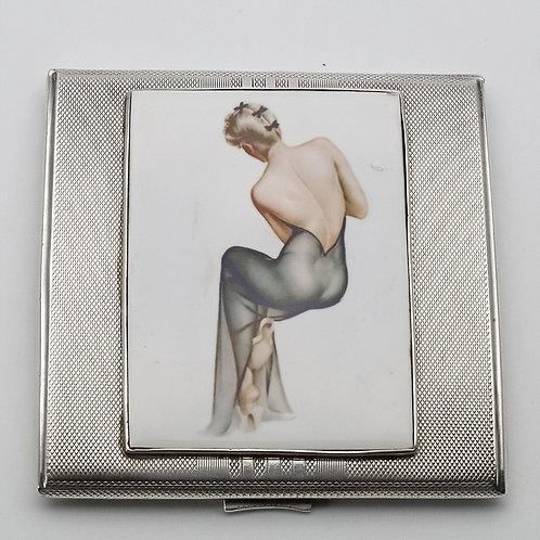 Silver cigarette case Art Deco