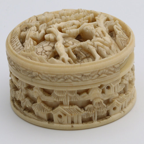 Antique carved ivory Chinese box